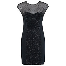 Buy French Connection Moon Dust Cap Sleeve Dress, Black Online at johnlewis.com