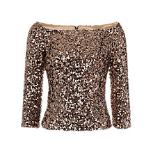 Buy French Connection Cosmic Sparkle Top, Gold Online at johnlewis.com