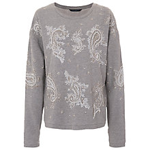 Buy French Connection Paisley Dazzle Sweatshirt, Grey Marl Online at johnlewis.com