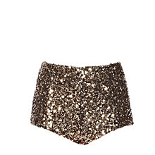 Buy French Connection Cosmic Sparkle Hot Pant Shorts, Tiger Gold Online at johnlewis.com