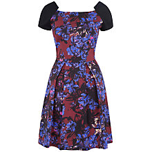 Buy Closet Contrast Floral Square Neck Dress, Red/Blue Online at johnlewis.com