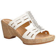 Buy Gabor Pippin Wide Fit Leather Heeled Sandals, White Online at johnlewis.com