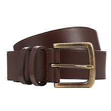 Buy Polo Ralph Lauren Leather Metal Logo Belt, Brown Online at johnlewis.com