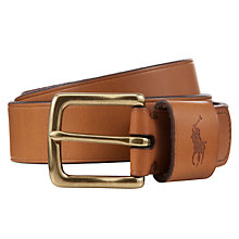 Buy Polo Ralph Lauren Pony Logo Belt, Tan Online at johnlewis.com