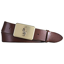 Buy Polo Ralph Lauren Pony Plaque Leather Belt, Dark Brown Online at johnlewis.com