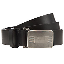 Buy Polo Ralph Lauren Leather Plaque Buckle Belt, Black Online at johnlewis.com