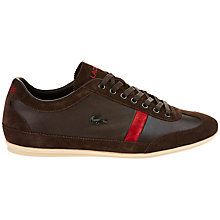 Buy Lacoste Leather and Suede Misano Trainers, Dark Brown Online at johnlewis.com