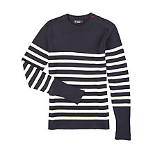 Buy Hackett London Breton Stripe Crew Neck Jumper, Navy Online at johnlewis.com