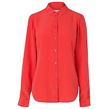 Buy L.K. Bennett Derb Long Sleeve Silk Shirt, Carmine Online at johnlewis.com