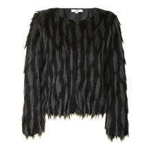 Buy True Decadence Faux Fur Jacket, Black/Grey Online at johnlewis.com