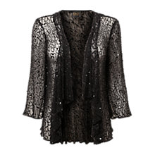 Buy East Sequin Waterfall Cardigan, Black Online at johnlewis.com