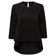 Buy East Woven Back Jersey Top, Black Online at johnlewis.com
