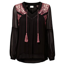 Buy East Lace Trim Mesh Top, Black Online at johnlewis.com
