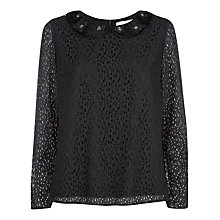 Buy Havren Lace Embellished Top, Black Online at johnlewis.com