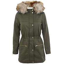 Buy Miss Selfridge Borg-lined Parka Jacket, Khaki Online at johnlewis.com