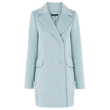 Buy Warehouse Brushed Drawn Hair Coat, Light Blue Online at johnlewis.com
