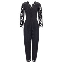 Buy Whistles V Neck Lace Jumpsuit, Black Online at johnlewis.com