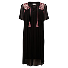 Buy East Angel Sleeve Embroidered Dress, Black Online at johnlewis.com