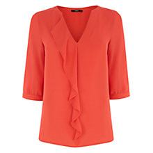 Buy Oasis Frill Pleat Blouse, Bright Orange Online at johnlewis.com