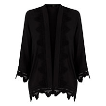 Buy Oasis Lace Trim Kimono Jacket, Black Online at johnlewis.com