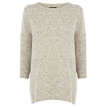 Buy Warehouse Split Side Soft Jumper, Cream Online at johnlewis.com