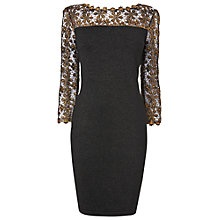 Buy Phase Eight Suzy Foil Print Dress, Black / Gold Online at johnlewis.com