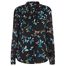 Buy Oasis Butterfly Print Shirt, Multi Black Online at johnlewis.com