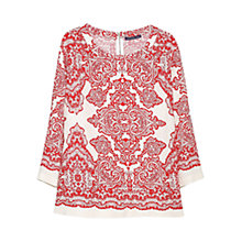 Buy Violeta by Mango Baroque Print Blouse, Red/White Online at johnlewis.com