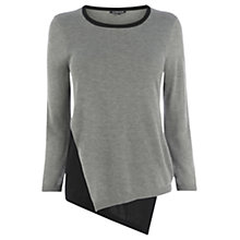 Buy Warehouse Asymmetric Crew Neck Jumper, Light Grey Online at johnlewis.com