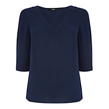 Buy Oasis Collar Tipped Blouse, Navy Online at johnlewis.com