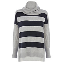 Buy Oasis Stripe Cowl Neck Jumper, Multi Grey Online at johnlewis.com