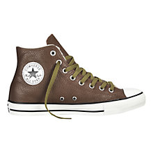 Buy Converse Chuck Taylor All Star Leather Hi-Top Trainers, Chocolate Online at johnlewis.com