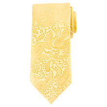 Buy John Lewis Tonal Paisley Silk Tie, Yellow Online at johnlewis.com