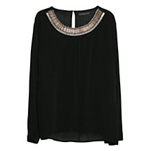 Buy Violeta by Mango Bead Textured Blouse, Black Online at johnlewis.com