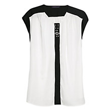 Buy Violeta by Mango Bicolour Embellished Blouse, Natural White Online at johnlewis.com