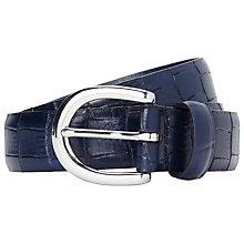 Buy John Lewis Leather Croc Belt, Navy Online at johnlewis.com