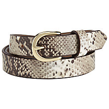 Buy John Lewis Faux Snake Print Leather Belt, Natural, S Online at johnlewis.com