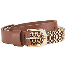 Buy John Lewis Chain and Leather Belt, Tan/Gold Online at johnlewis.com
