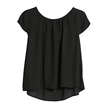 Buy Mango Cropped Blouse, Black Online at johnlewis.com