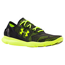 Buy Under Armour SpeedForm Apollo Vent Men's Running Shoes, Black/Yellow Online at johnlewis.com