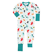Buy Polarn O. Pyret Children's Wildlife Onesie, White/Green Online at johnlewis.com