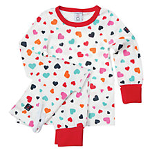 Buy Polarn O. Pyret Unisex Sweet Hearts Pyjamas, White/Multi Online at johnlewis.com