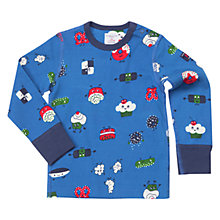 Buy Polarn O. Pyret Baby Fun Foods Print Long Sleeve Top, Blue Online at johnlewis.com