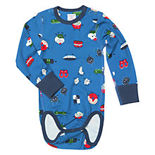 Buy Polarn O. Pyret Baby Fun Foods Print Long Sleeve Bodysuit, Blue Online at johnlewis.com