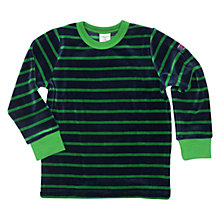 Buy Polarn O. Pyret Children's Stipe Velour Top, Blue/Green Online at johnlewis.com