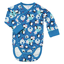 Buy Polarn O. Pyret Baby Penguin and Polar Bear Print Bodysuit, Blue Online at johnlewis.com