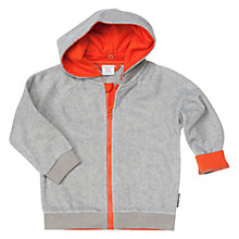 Buy Polarn O. Pyret Baby Lined Fleece Zip Hoodie, Grey/Orange Online at johnlewis.com