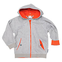 Buy Polarn O. Pyret Children's Lined Fleece Zip Hoodie, Grey/Orange Online at johnlewis.com