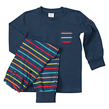 Buy Polarn O. Pyret Children's Stripe Pyjamas, Navy/Multi Online at johnlewis.com