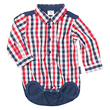 Buy Polarn O. Pyret Baby Check Shirt Bodysuit, Red/Blue Online at johnlewis.com